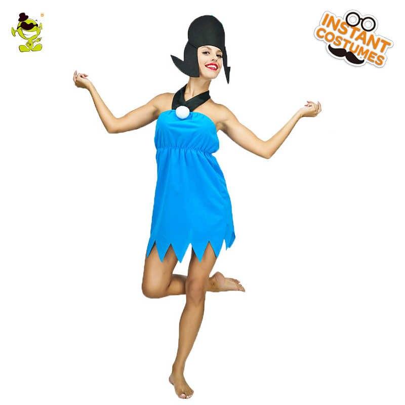Adults Caveman Costume Mens Ladies Cave Girl Fancy Dress Women Flintstone Outfit