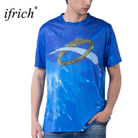 IFRICH Short Sleeve 3D Prints T Shirt Men T Shirt Male Casual Tee Comfortable Tshirt Men's Blue Compression Shirt for Boy XXXL
