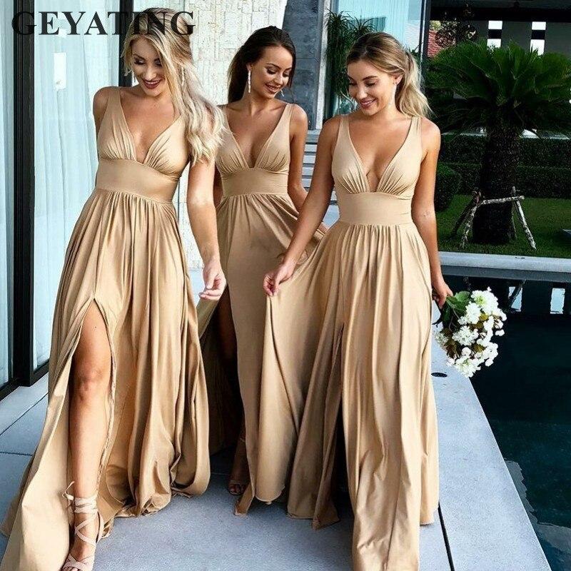 Sexy côté fendu col en v Champagne or robes de demoiselle d'honneur longue robe élégante femmes pour la fête de mariage Bestidos de fiesta largos