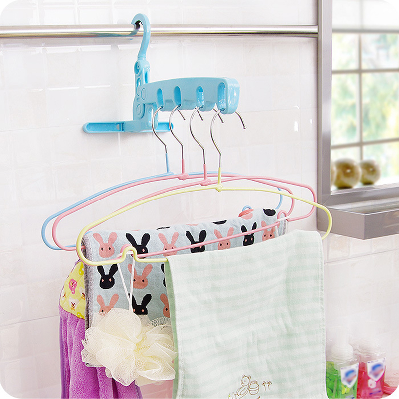 New Multi-function High Quality 5 hole Folding Clothes Hangers Wall-mounted Non-slip Drying Rack Bathroom Door Hook Organizer