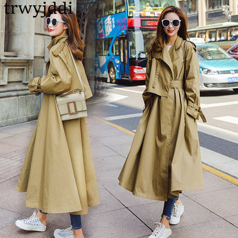 khaki Solide Royaume 2019 vent Printemps Femmes Chic Coupe Trench Nouvelle Automne Femelle orange Blue uni gray Survêtement Mode automne Long purple Casual Manteau Marque N399 qxqBrz
