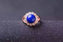 Natural blue lapis lazuli Ring Natural gemstone Ring S925 sterling silver trendy Elegant round Sunflower women gift Jewelry
