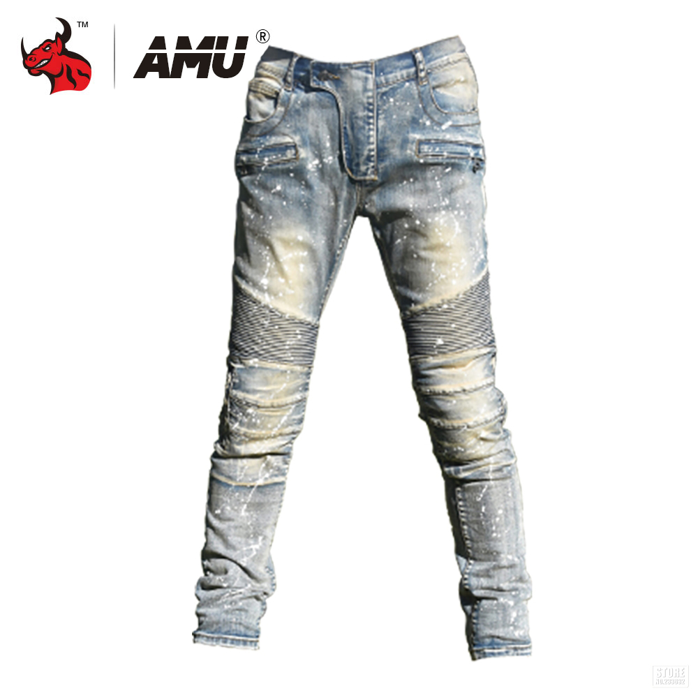 AMU Motorcycle Pants Men Moto Jeans Protective Gear Riding Motorbike Trousers Motocross Pants Pantalon Moto Pants amu motorcycle jeans camouflage denim biker motorbike racing pants motocross moto pants protective gear with protector