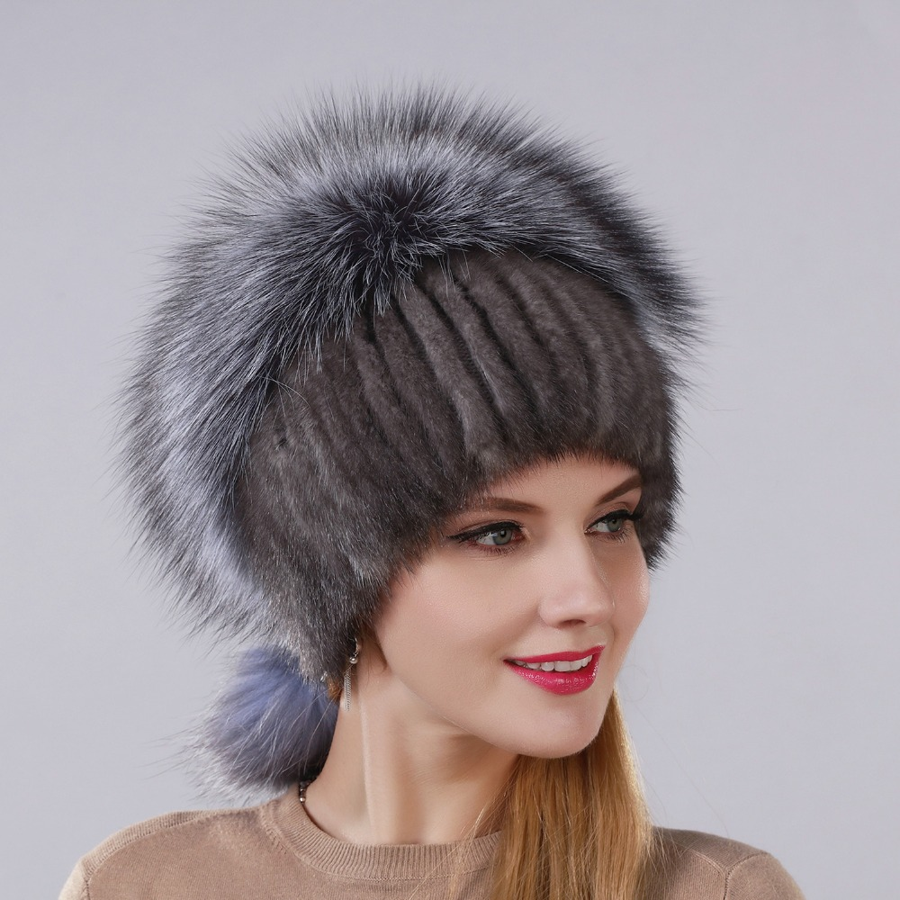 New Design Fashion Hat Real Natural Mink Fur Hat With Silver Fox Fur Cap For Women With Hanging Chain In The Back And Fur Balls