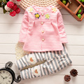 Baby Girls Sets 2pcs New Spring Colorful Flowers Coat + Hearts Pants Single Breasted 6M-3Y Kids Children Clothes Clothing Suits