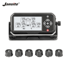 Jansite Truck TPMS Tire Pressure Monitoring System Battery Power PSI Bar unit Display Auto Alarm System Wireless With 6 Sensors careud truck auto u901 tpms car wireless tire pressure monitoring system lcd display 4 replaceable battery sensors