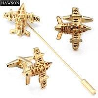 HAWSON Spitfire Avion boutons de manchette Broche Pin Set D'or De Cuivre Matériel Avions Épinglette avec la Boîte