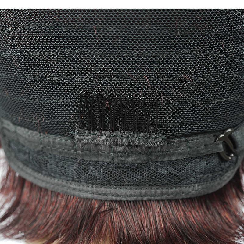 Короткие предварительно сорвал Детские бразильские волосы красный прямой парик 1B/99J Боб бордовые, человеческие волосы Искусственные парики для черный для женщи