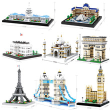Diamond Mini building Blocks NO Compatible legoing city Taj Mahal triumphal arch Word Great Architecture model micro blocks