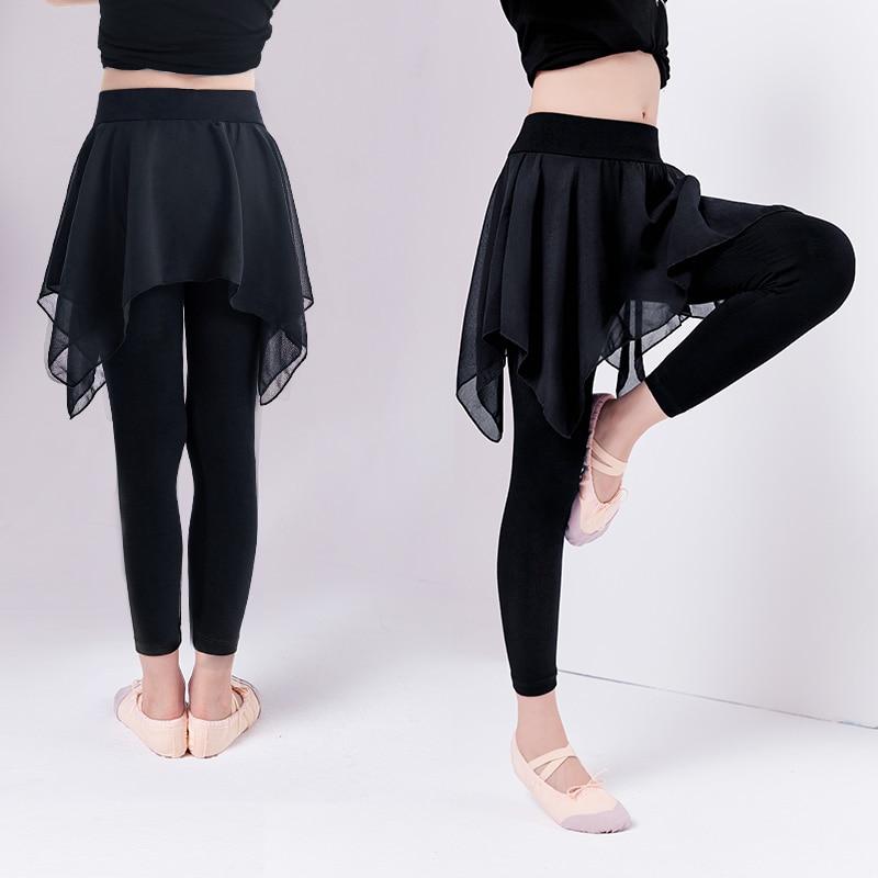 Girls Kids Black Ballet Dance Pants Children Modal Pants With Chiffon Skirt Gymnastics Dance Training Leggings