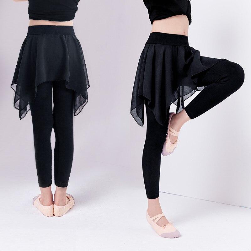 Ragazze Dei Capretti Nero Pantaloni Di Ballo Di Balletto Dei Bambini Pantaloni Di Cotone Con Gonna In Chiffon Ginnastica Di Formazione Di Danza Leggings