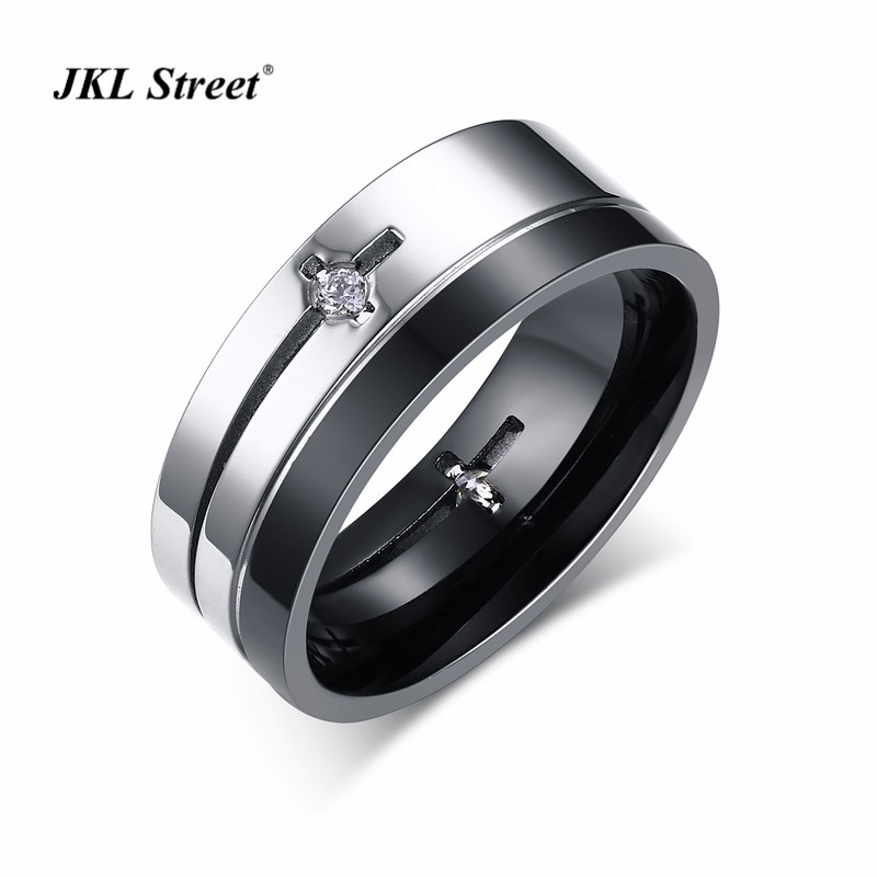 8MM Stainless Steel High Polished Men Rings Black Plated Cross AAA Zirconia Bling Bling Men Rings SIZE 9~13 SF-146