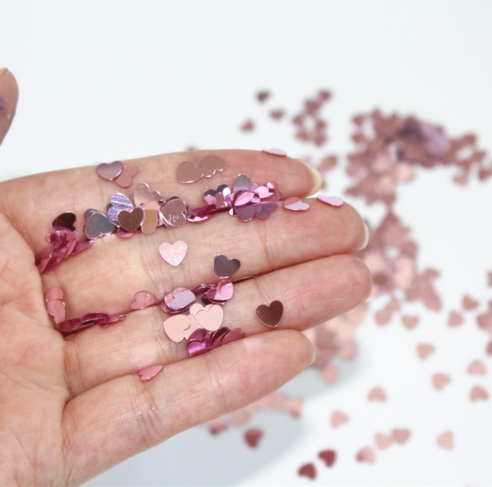 Baby shower 6 mm Tiny baby Pink Sparkle Heart Wedding Confetti Table Decoration