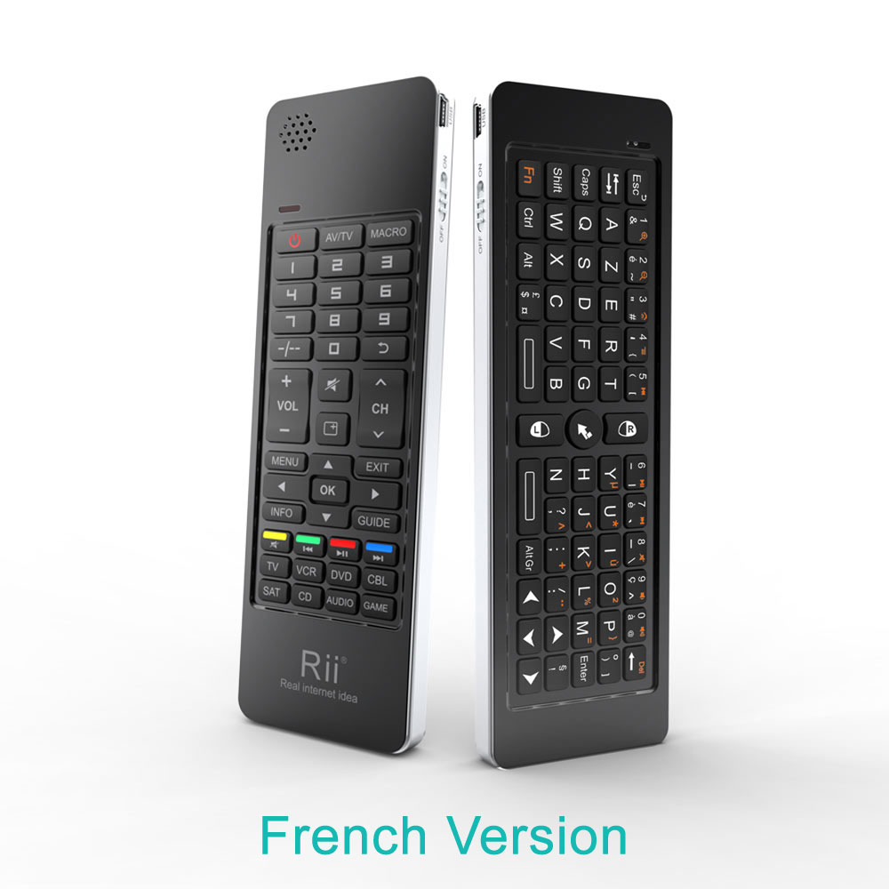 Rii K13 russe/français/espagnol Mini clavier sans fil mouche Air souris Combos Mircophone haut-parleur IR apprentissage à distance pour PC TV Box