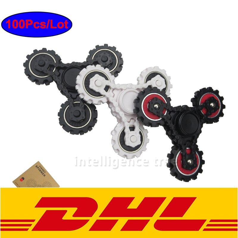 100Pcs Lot Four Teeth Linkage Fidget Tri spinner Toys EDC Hand Spinner For Adult Focus Keep