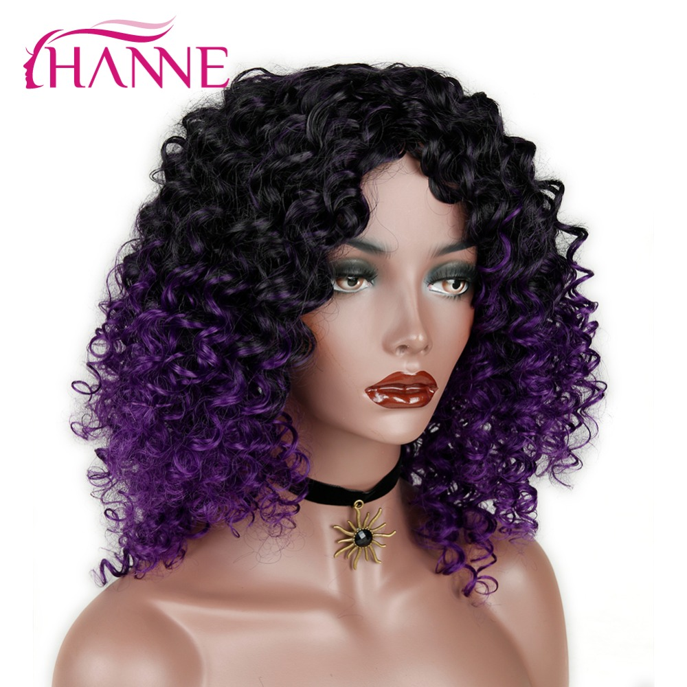HANNE Afro Curly Synthetic Wigs Black To Purple/blue/grey Ombre Wig High Temperature Fiber Wigs For Black Women