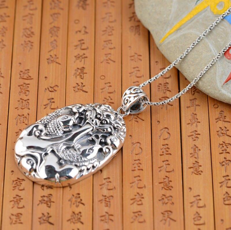 Cerf roi bijoux en gros en argent sterling pendentif pendentif en argent carpe S925 Longmen personnalité explosion