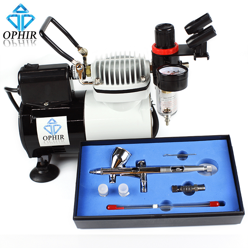 цены на OPHIR Professional 3 Tips Airbrush Kit with High Performance Air Compressor for Hobby Airbrushing Craftworks Coloring _AC114+070 в интернет-магазинах