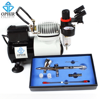 OPHIR Professional 3 Tips Airbrush Kit with High Performance Air Compressor for Hobby Airbrushing Craftworks Coloring _AC114+070