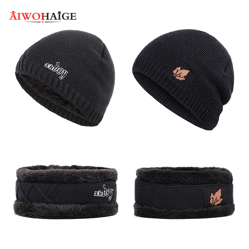 Winter beanies for men Brand Knit Beanie Hat Scarf Plus Velvet Thicken Winter Hats Woman Warm Soft Cap Skullies Bone Male Cotton in Men 39 s Skullies amp Beanies from Apparel Accessories
