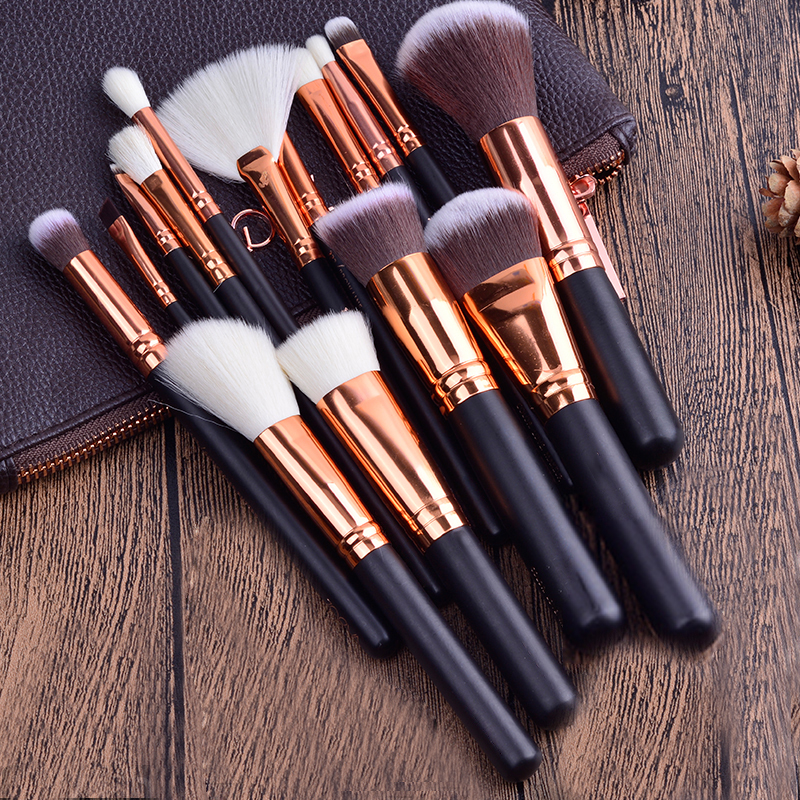 FOEONCO 15 PCS ROSE GOLDEN COMPLETE MAKEUP BRUSH SET Professional Luxury Set Make Up Tools Kit Powder Blending Brushes with Bag