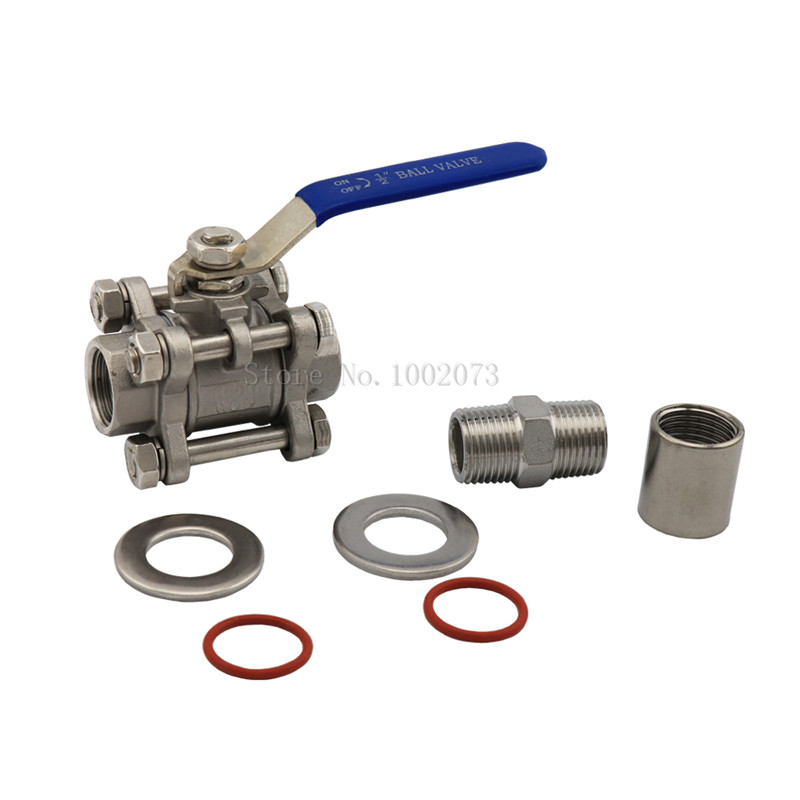 Stainless Steel Ball Valve 1 2 quot Barb Pipe Fitting Weldless Compact Kettle Ball Valve With Bazooka Kit 6 quot Kettle Screen Homebrew in Other Bar Accessories from Home amp Garden