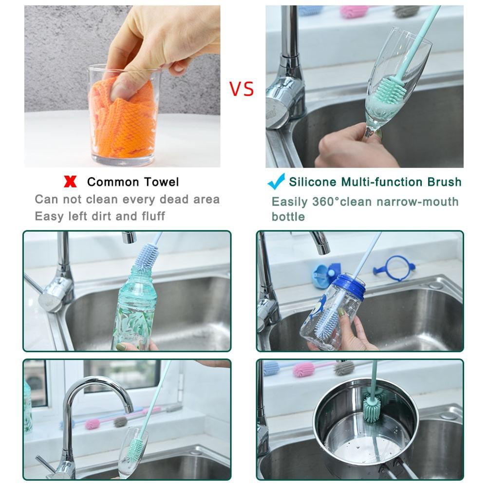 Image 5 - Food Grade Silicone Bottle Brush Bottle cleaner Water Bottle Cleaning Brush for Washing Narrow Neck Containers for Baby Bottles-in Cleaning Brushes from Home & Garden
