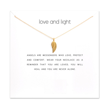 Fashion Angel Wing Pendant Necklace Women Minimalist Clavicle Chain Statement Choker Necklaces Love And Light Gift Card fashion angel wings necklace for women animal pendant gold color chain statement choker necklaces guardian angel gift card
