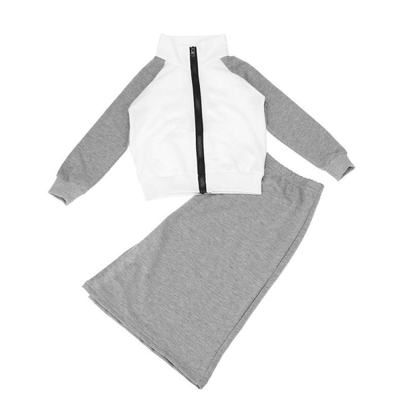 Fashion Girl Kids Children Sports Zipper Jacket + Side Slit Skirt Children Clothing Set Sports Suit for Girl 2pcs/Set