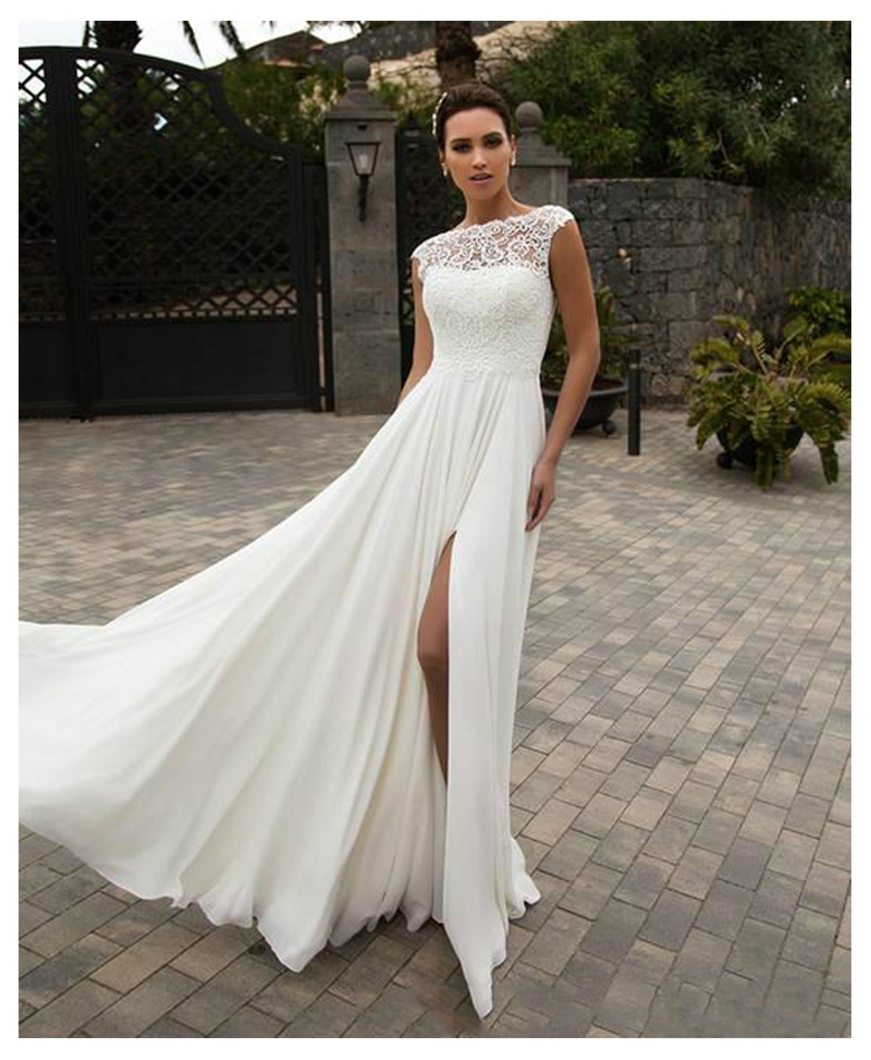 LORIE Boho Wedding Dress  A-Line Appliques Chiffon Bride Dress Custom Made High Split  Wedding Gown Free Shipping 2019