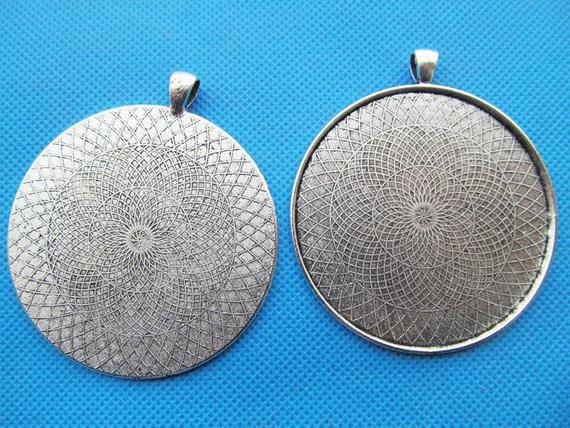 20pcs Antique Silver Cabochon Base Setting Charms Pendants Fits 12mm