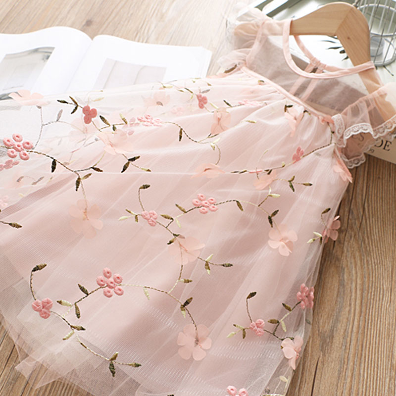 Children Girls Embroidery Clothing Wedding Evening Flower Girl Dress Princess Party Pageant Lace tulle Gown Kid Girls Clothes