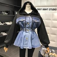 2019 spring new Fashion hooded sweater stitching denim jacket feamle high waist single breasted fake two pieces jacket wj1995