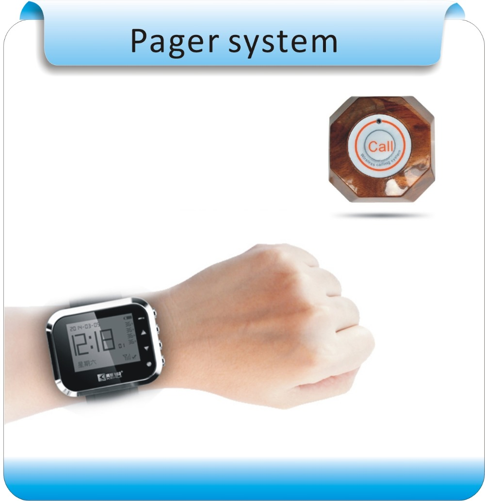 KC166 Wireless Waiter Wrist Pagers Service Calling System for Restaurant Calling Service 5pcs Buttons +smart watches