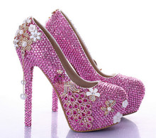 Phoenix rose pink diamond bridal shoes high with fine with waterproof round shoes wedding flowers pearl tassel singles shoes