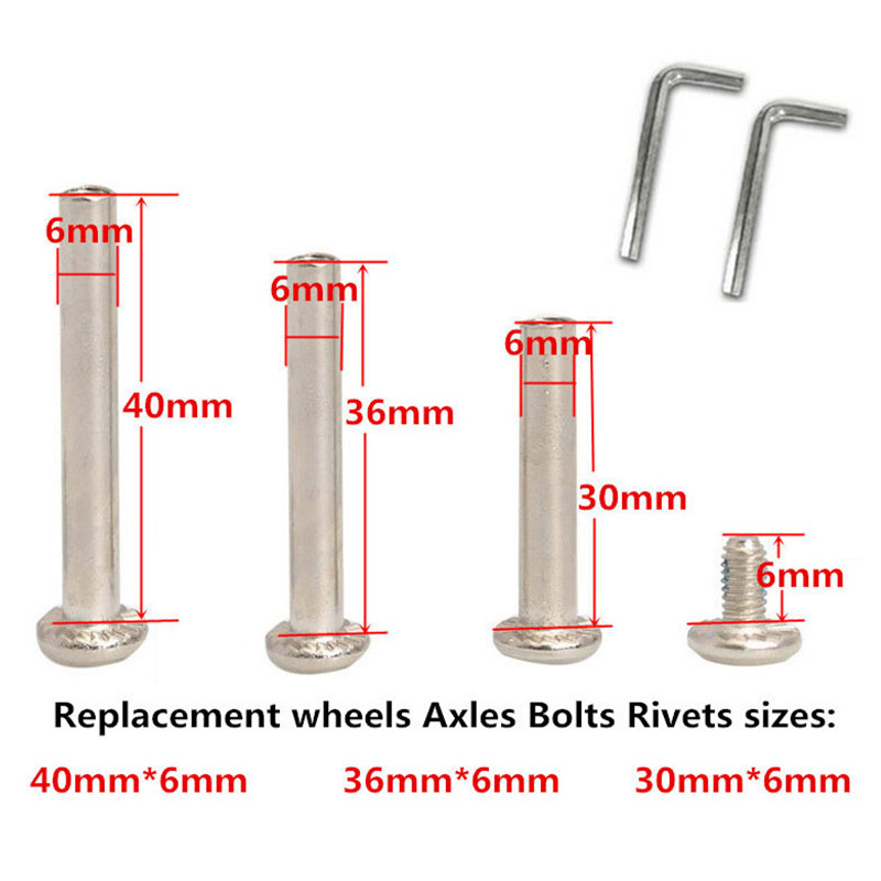 Replacement Luggage <font><b>Wheels</b></font> Replace <font><b>6mm</b></font> <font><b>Axles</b></font> Bolts Rivets for 4 and Hex Allen Key Wrench for 2 image