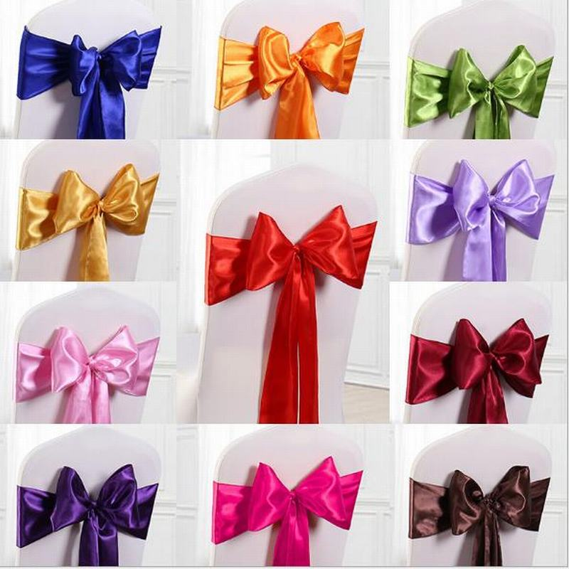 10/40/50/100pcs High End Banquet Wedding Party Chair Cover Band With Satin Sashes Bow Ties Decoration Wholesale 16color 275*18cm