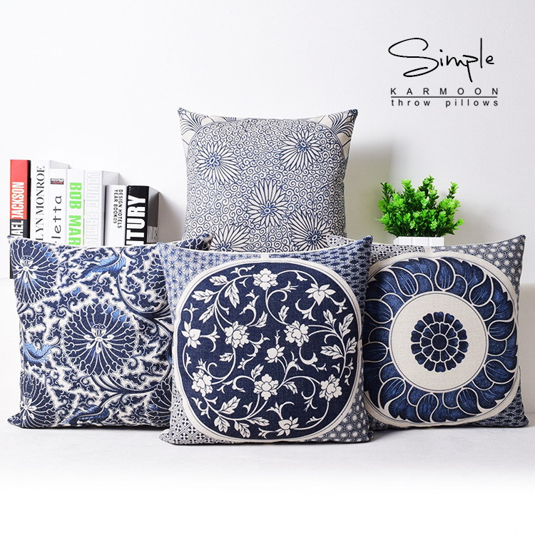 Flower Cushion Covers Chinese Culture Blue And White
