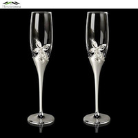 Silver Plated Metal Champagne Glass Flutes Flower Red Wine Glasses European Style For Wedding Brandy Goblet