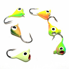 KKWEZVA 6pcs 1g 1.5cm color Winter Fishing Lure Ice Fishing Jig Fake Artificial Bait Fishing Tackle hooks