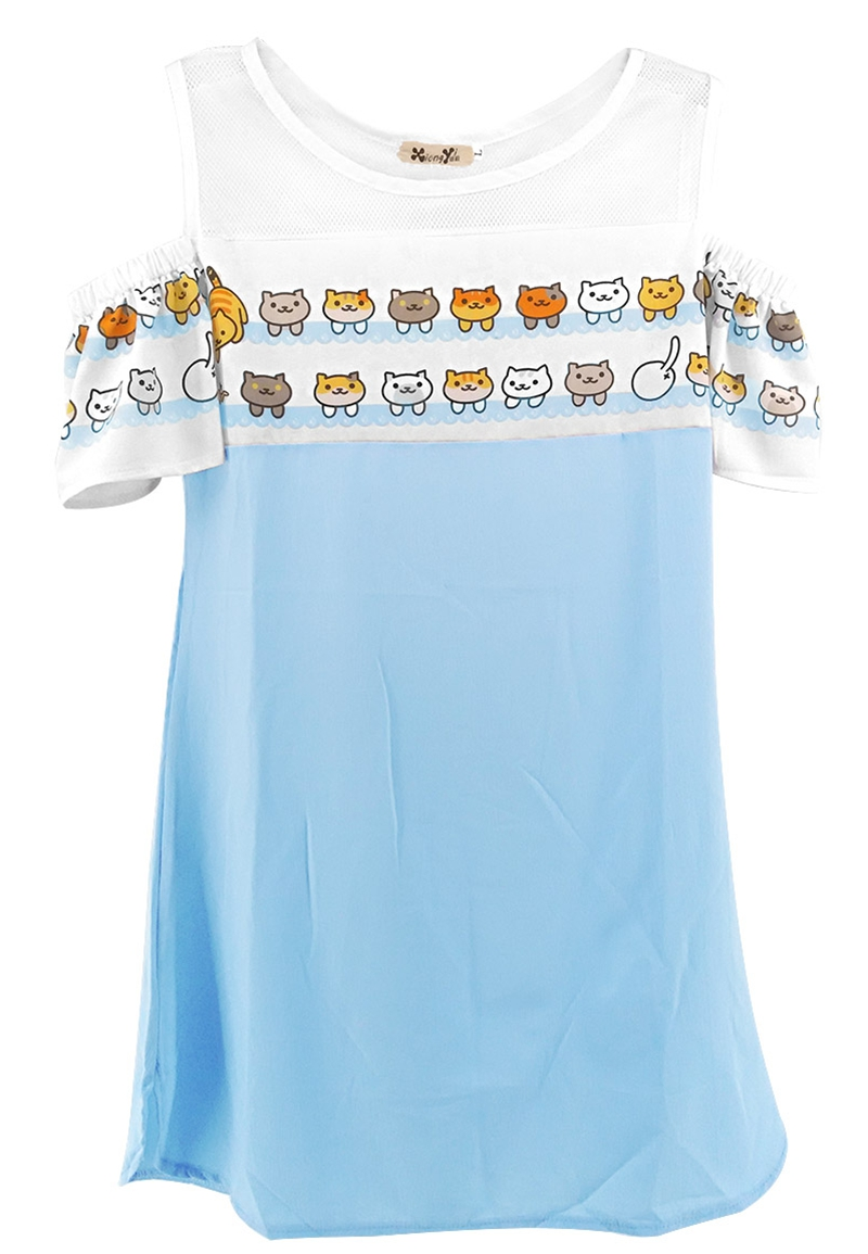 Japanese Game Neko Atsume Cute Cat One-piece Dress Fresh Strapless dress Fasion woman dress