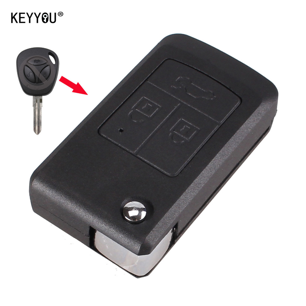 KEYYOU Replacement Remote Key shell Modify switch 3 buttons uncut flip folding Remote fob Key Shell case For Lada With LOGO