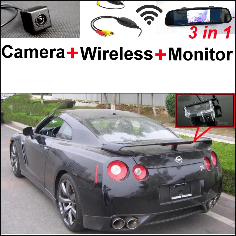 3 in1 Special Camera + Wireless Receiver + Mirror Monitor Easy Backup Parking System For NISSAN GT-R GTR R35 Godzilla 2003~2015 wireless pager system 433 92mhz wireless restaurant table buzzer with monitor and watch receiver 3 display 42 call button