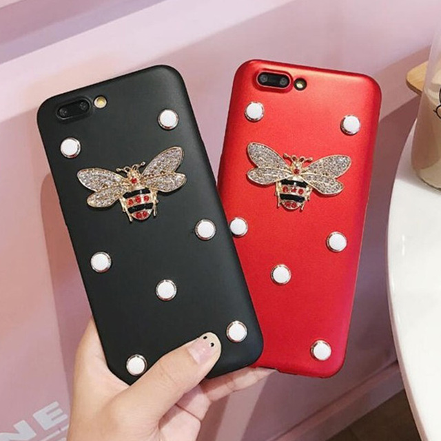 half off 9a4f1 2f8fd US $2.99 21% OFF Aliexpress.com : Buy For iPhone X DIY Bling Glitter  Exquisite Crystal Bee Soft Leather Phone Cases For iPhone 6 6S Plus 8 /7  Plus 5 ...