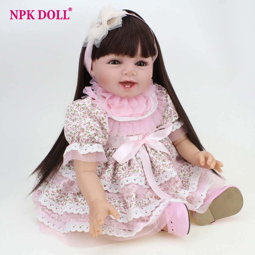 NPKDOLL 55CM Handmade Doll Reborn Lifelike Fake Girl Baby Doll Silicone Vinyl Newborn Dolls for Children Toys Birthday Gift