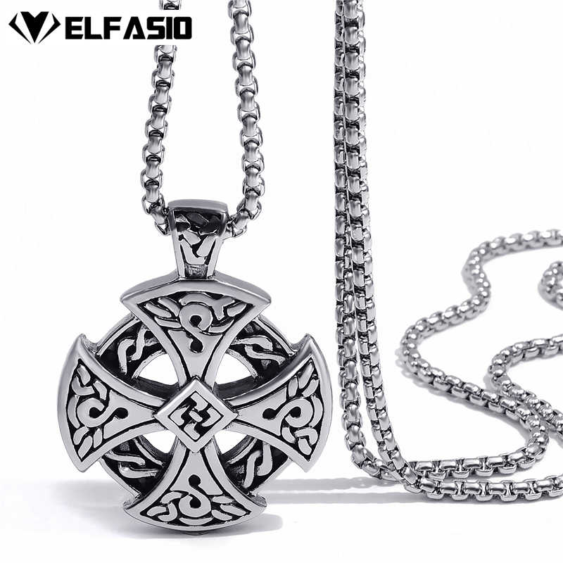 Mens Boys Stainless Steel Pendant Chain Silver Black Celtic Solar Cross Necklace fashion Jewelry 20inch-26inch