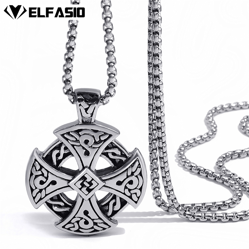 Mens Boys Stainless Steel Pendant Chain Silver Black Celtic Solar Cross Necklace fashion Jewelry 20inch-26inch mens jewelry 316l stainless steel silver silver cross skeleton cool lion pendant necklace black beads fashion stone rosary chain