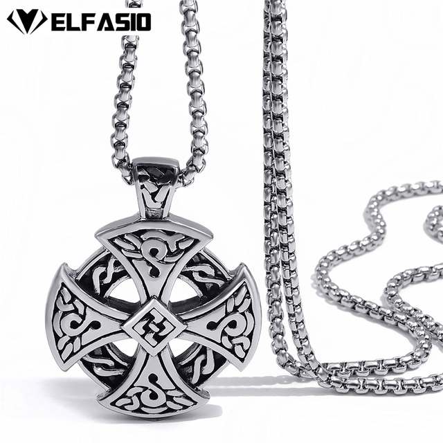 Mens boys stainless steel pendant chain silver black celtic solar mens boys stainless steel pendant chain silver black celtic solar cross necklace fashion jewelry 20inch aloadofball Images