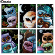 Dispaint Full Square/Round Drill 5D DIY Diamond Painting Cartoon owl 3D Embroidery Cross Stitch Home Decor Gift