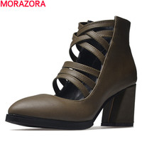 MORAZORA Popular High Heels Shoes Woman Spring Hot Sale Ankle Boots Women Pu Leather Fashion Unique